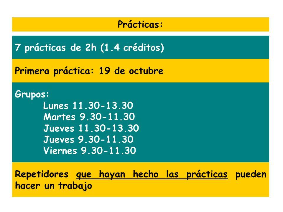 Prácticas: 7 prácticas de 2h (1.4 créditos) Primera práctica: 19 de octubre Repetidores que hayan hecho las prácticas pueden hacer un trabajo Grupos: