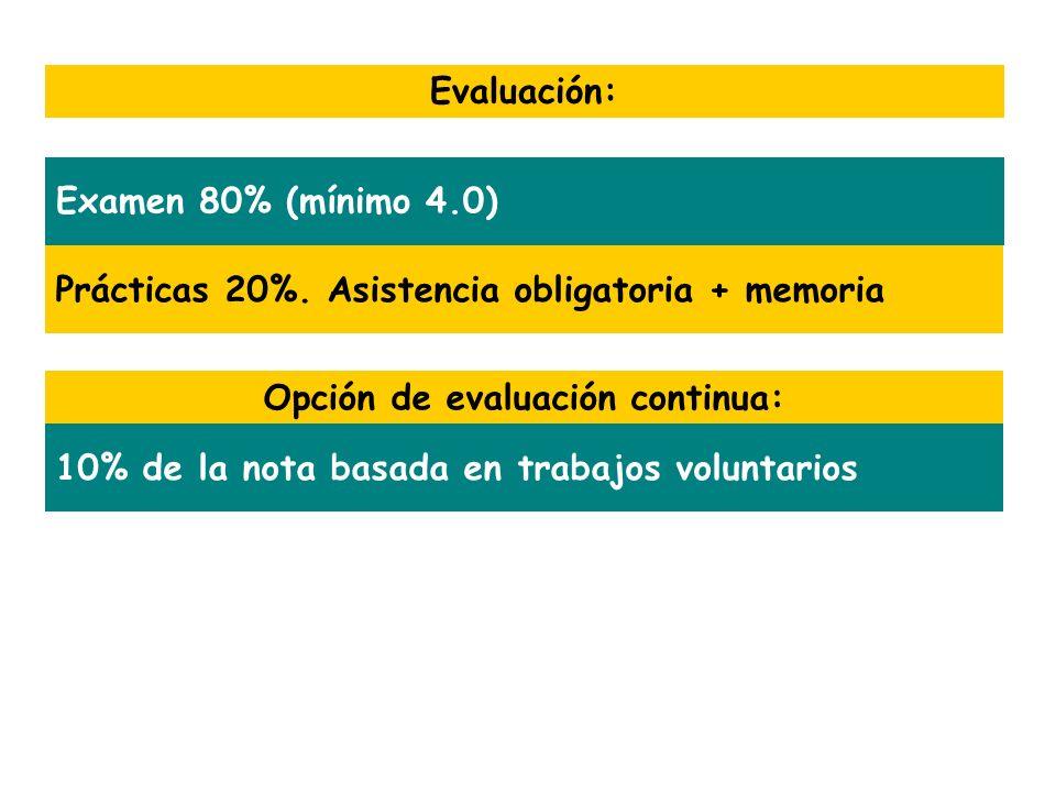 Prácticas 20%. Asistencia obligatoria + memoria Evaluación: Examen 80% (mínimo 4.0) Opción de evaluación continua: 10% de la nota basada en trabajos v