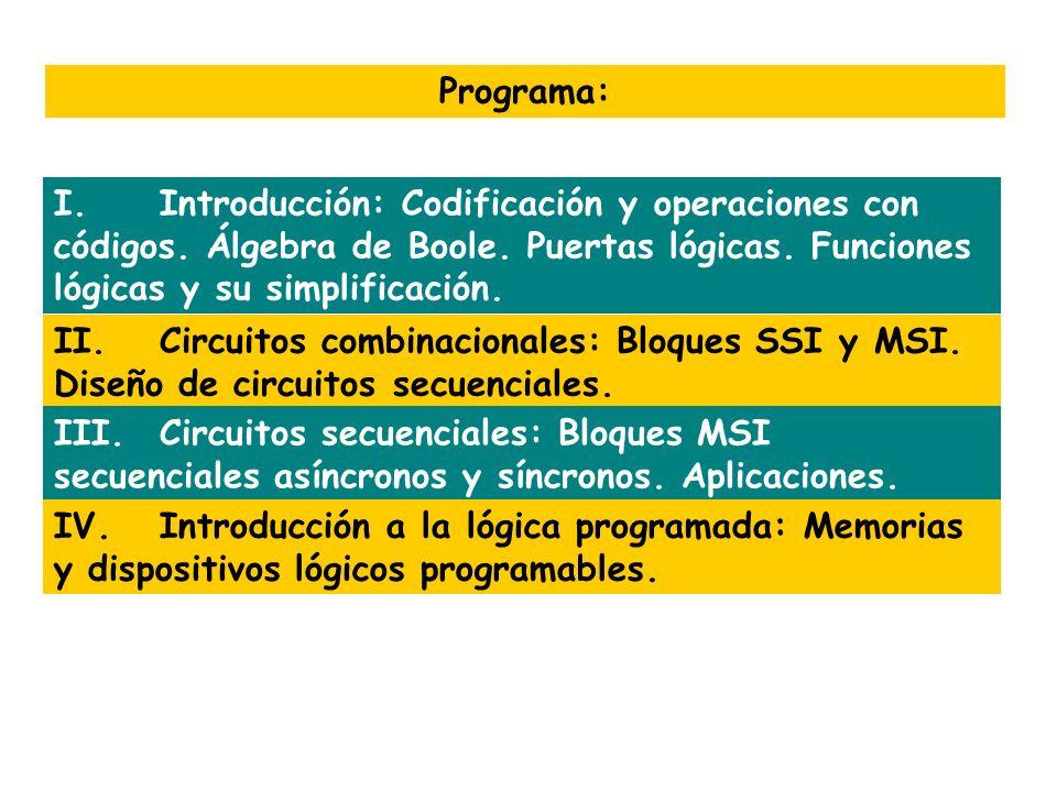 Programa: I.Introducción: Codificación y operaciones con códigos. Álgebra de Boole. Puertas lógicas. Funciones lógicas y su simplificación. II.Circuit