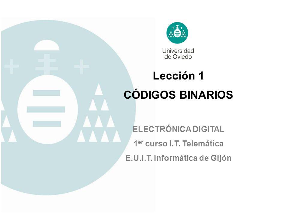 Lección 1 ELECTRÓNICA DIGITAL 1 er curso I.T. Telemática E.U.I.T. Informática de Gijón CÓDIGOS BINARIOS