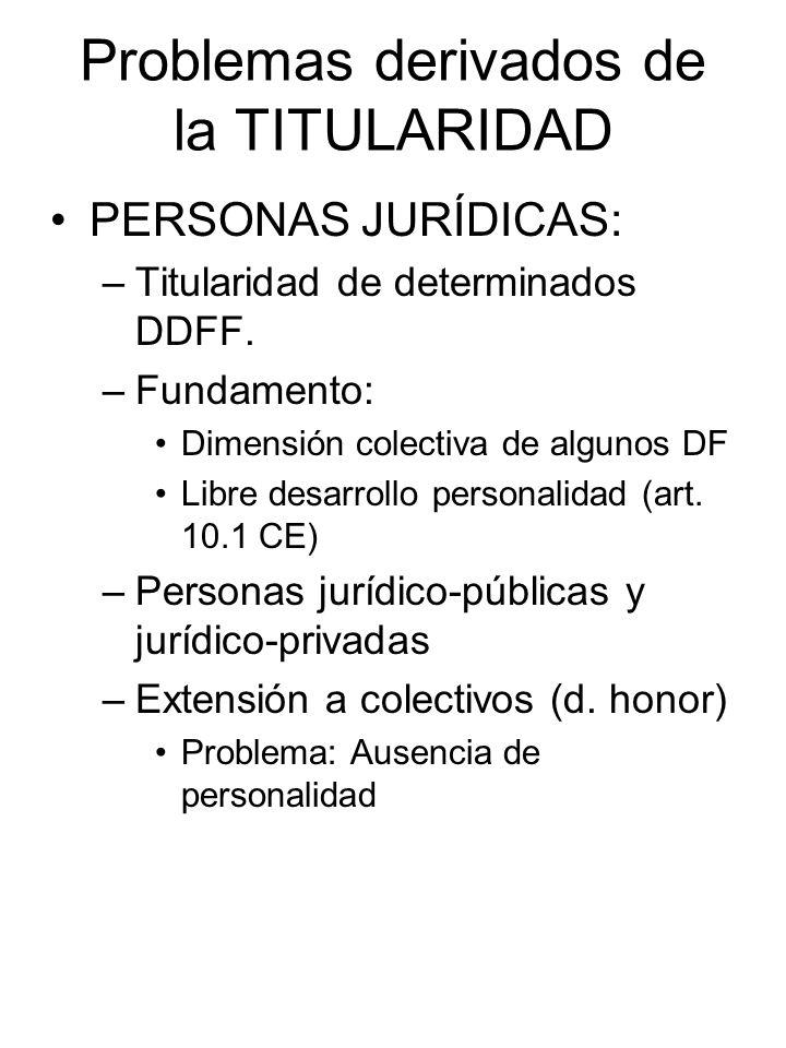 Problemas derivados de la TITULARIDAD PERSONAS JURÍDICAS: –Titularidad de determinados DDFF. –Fundamento: Dimensión colectiva de algunos DF Libre desa