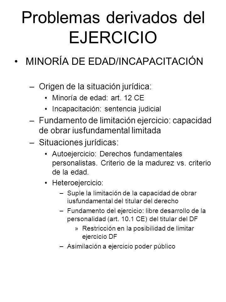 Problemas derivados del EJERCICIO MINORÍA DE EDAD/INCAPACITACIÓN –Origen de la situación jurídica: Minoría de edad: art. 12 CE Incapacitación: sentenc