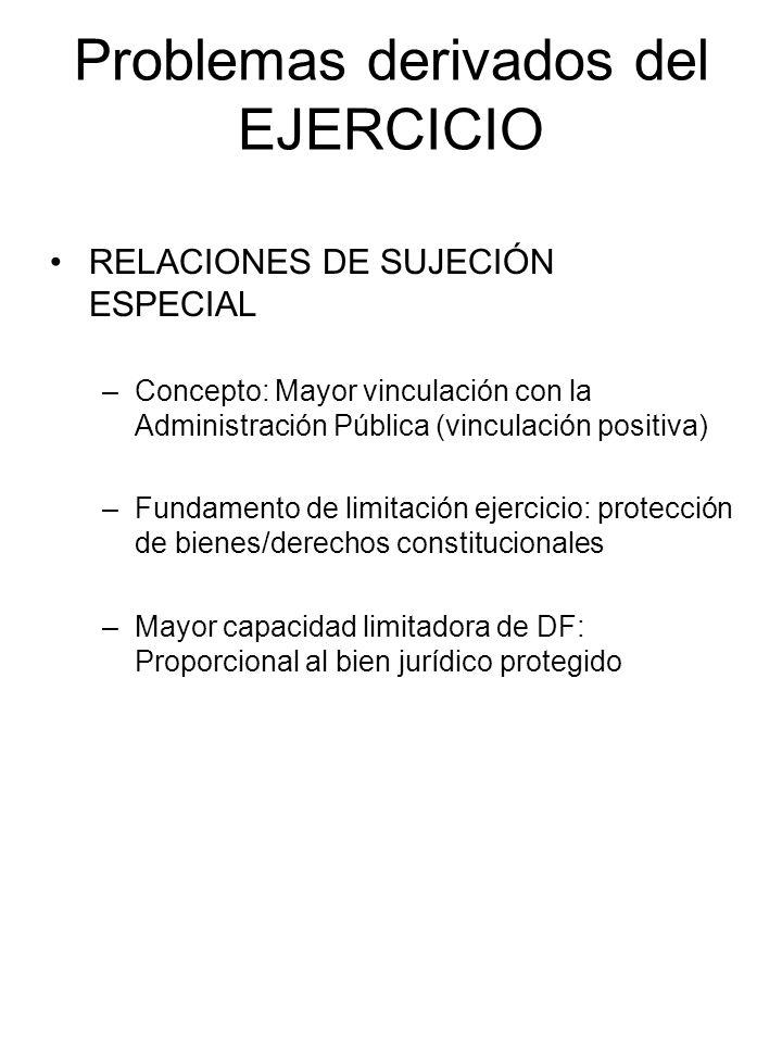 Problemas derivados del EJERCICIO RELACIONES DE SUJECIÓN ESPECIAL –Concepto: Mayor vinculación con la Administración Pública (vinculación positiva) –F