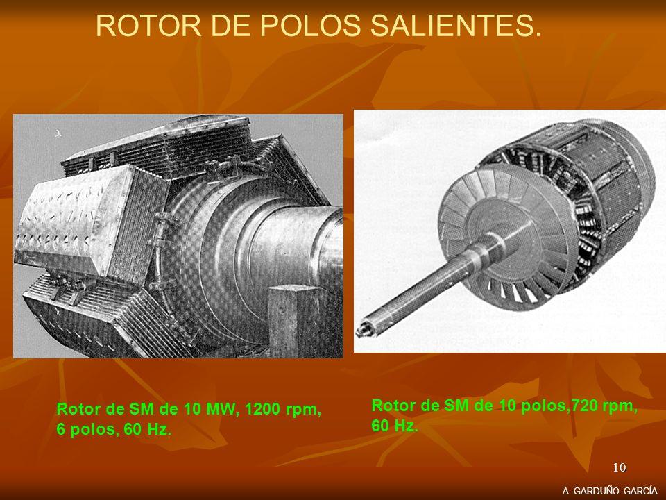 10 ROTOR DE POLOS SALIENTES. Rotor de SM de 10 MW, 1200 rpm, 6 polos, 60 Hz. Rotor de SM de 10 polos,720 rpm, 60 Hz. A. GARDUÑO GARCÍA