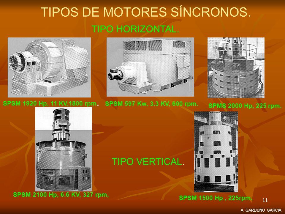 11 TIPOS DE MOTORES SÍNCRONOS. TIPO HORIZONTAL. SPSM 2100 Hp, 6.6 KV, 327 rpm, SPSM 1920 Hp, 11 KV,1800 rpm. SPSM 597 Kw, 3.3 KV, 600 rpm. SPMS 2000 H
