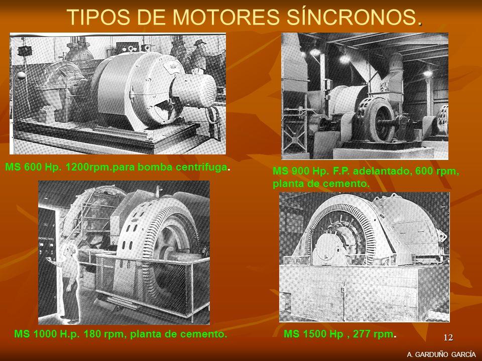 12. TIPOS DE MOTORES SÍNCRONOS. MS 600 Hp. 1200rpm.para bomba centrifuga. MS 900 Hp. F.P. adelantado, 600 rpm, planta de cemento. MS 1500 Hp, 277 rpm.