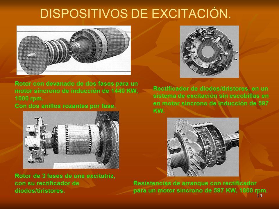 14 DISPOSITIVOS DE EXCITACIÓN. Rotor con devanado de dos fases para un motor síncrono de inducción de 1440 KW, 1000 rpm. Con dos anillos rozantes por