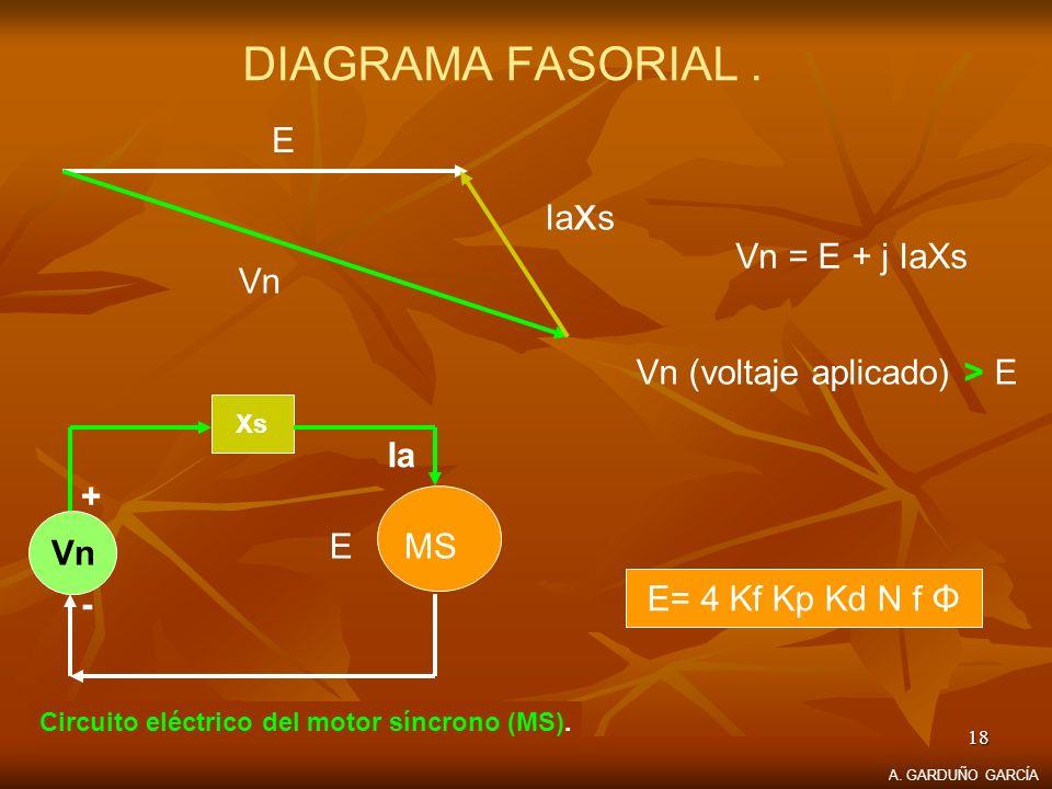 18 DIAGRAMA FASORIAL. Vn Ia x s E Vn = E + j IaXs Circuito eléctrico del motor síncrono (MS). E= 4 Kf Kp Kd N f Φ Vn (voltaje aplicado) > E Xs Vn + -