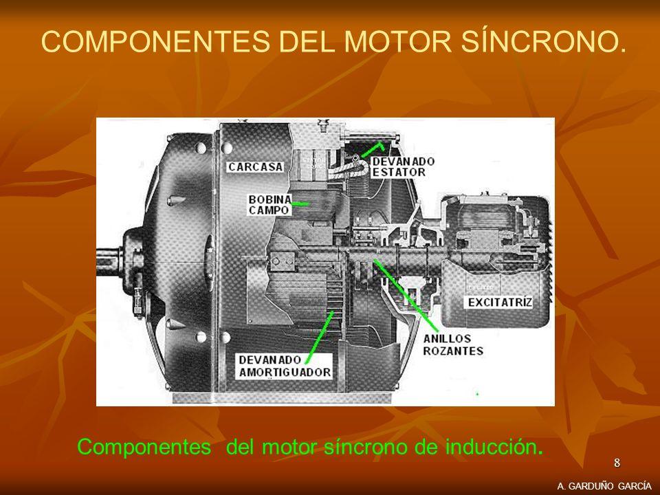 8 COMPONENTES DEL MOTOR SÍNCRONO. Componentes del motor síncrono de inducción. A. GARDUÑO GARCÍA