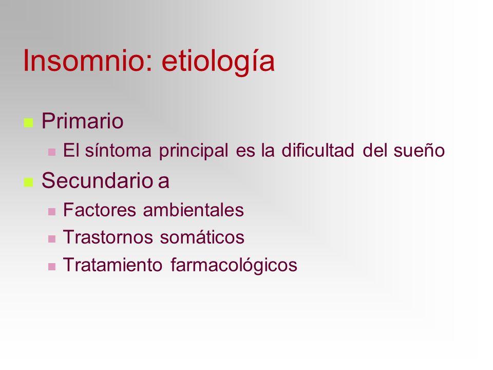 Insomnio: etiología Primario El síntoma principal es la dificultad del sueño Secundario a Factores ambientales Trastornos somáticos Tratamiento farmac