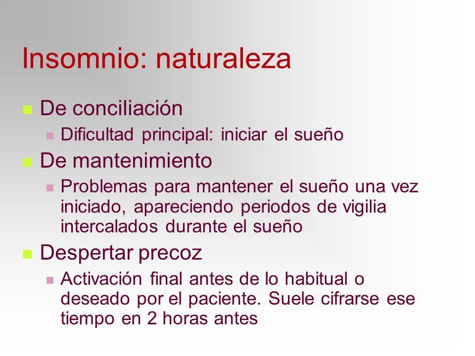 Insomnio: naturaleza De conciliación Dificultad principal: iniciar el sueño De mantenimiento Problemas para mantener el sueño una vez iniciado, aparec