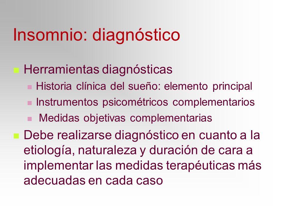 Insomnio: diagnóstico Herramientas diagnósticas Historia clínica del sueño: elemento principal Instrumentos psicométricos complementarios Medidas obje