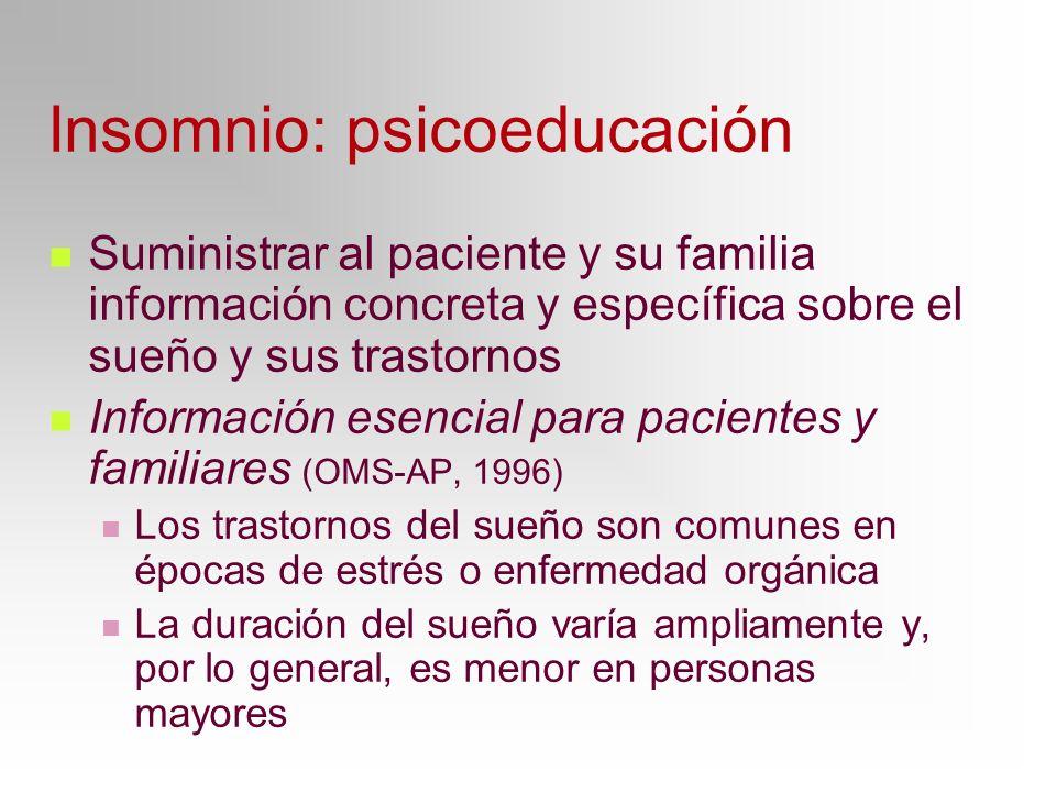 Insomnio: psicoeducación Suministrar al paciente y su familia información concreta y específica sobre el sueño y sus trastornos Información esencial p