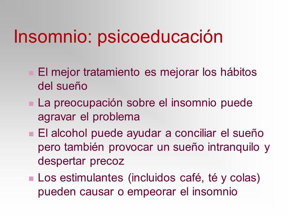 Insomnio: psicoeducación El mejor tratamiento es mejorar los hábitos del sueño La preocupación sobre el insomnio puede agravar el problema El alcohol