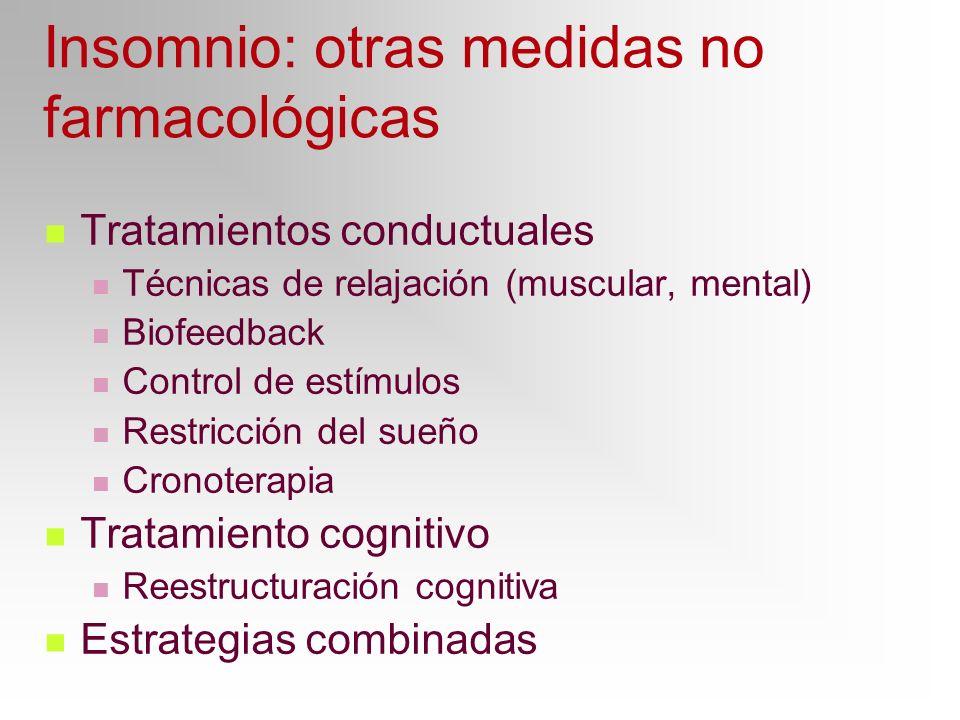 Insomnio: otras medidas no farmacológicas Tratamientos conductuales Técnicas de relajación (muscular, mental) Biofeedback Control de estímulos Restric