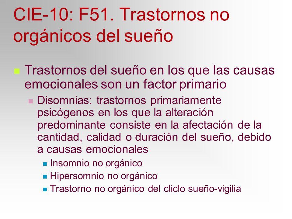 CIE-10: F51. Trastornos no orgánicos del sueño Trastornos del sueño en los que las causas emocionales son un factor primario Disomnias: trastornos pri