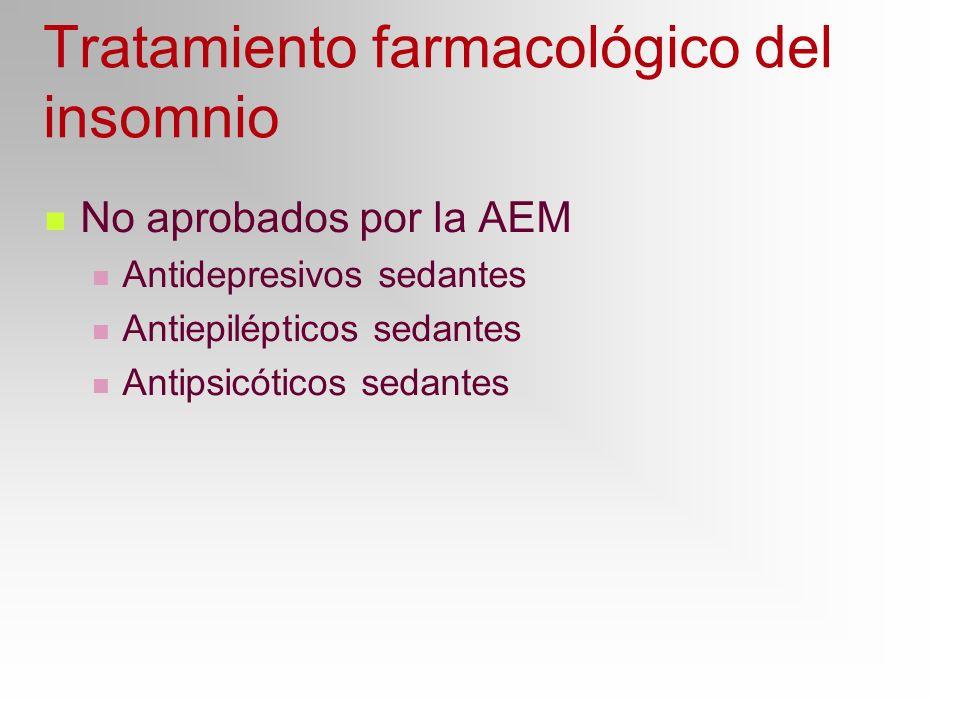 Tratamiento farmacológico del insomnio No aprobados por la AEM Antidepresivos sedantes Antiepilépticos sedantes Antipsicóticos sedantes