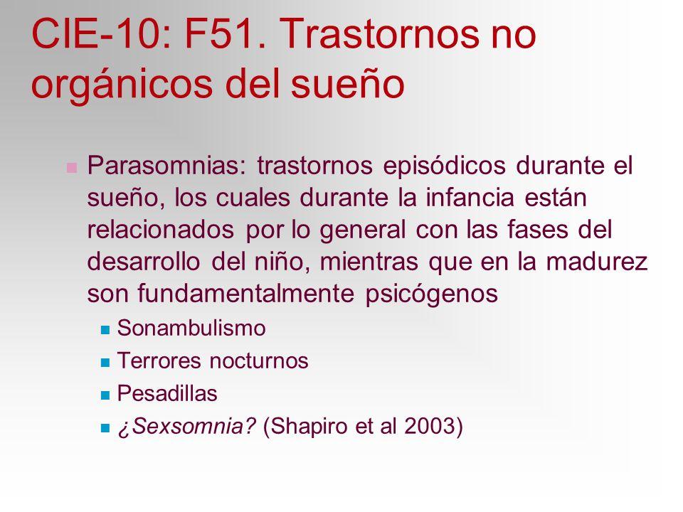 CIE-10: F51. Trastornos no orgánicos del sueño Parasomnias: trastornos episódicos durante el sueño, los cuales durante la infancia están relacionados