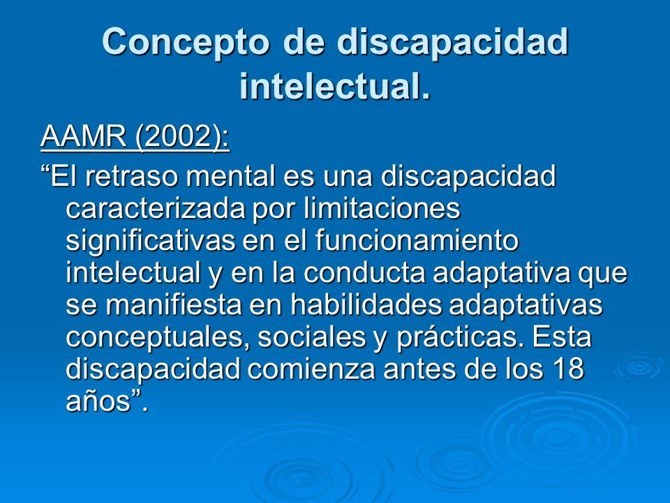 Concepto de discapacidad intelectual. AAMR (2002): El retraso mental es una discapacidad caracterizada por limitaciones significativas en el funcionam