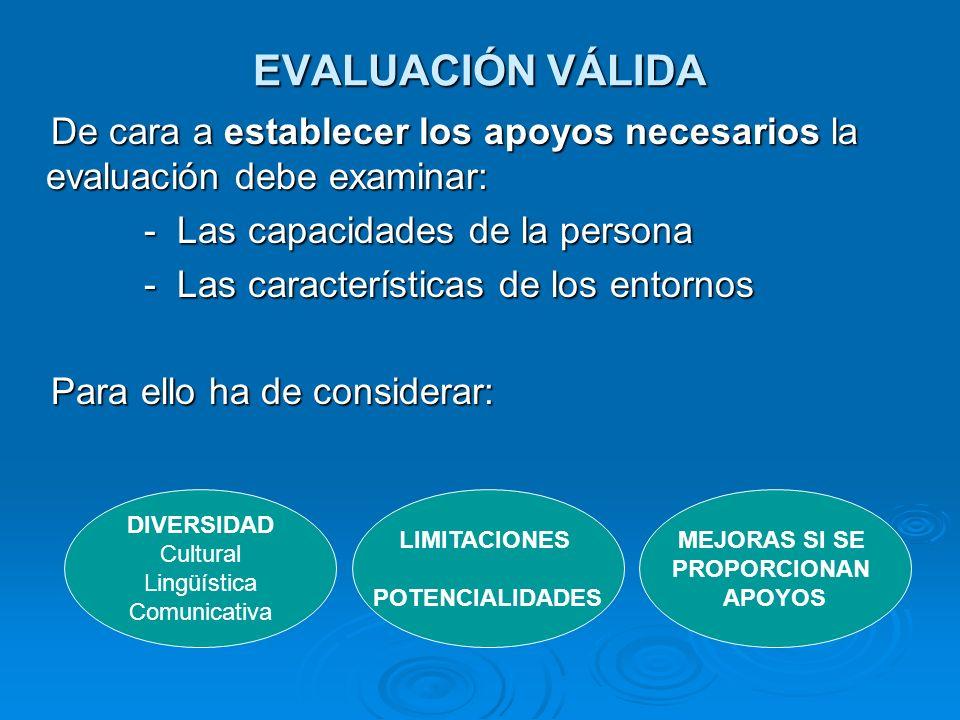 EVALUACIÓN VÁLIDA De cara a establecer los apoyos necesarios la evaluación debe examinar: De cara a establecer los apoyos necesarios la evaluación deb