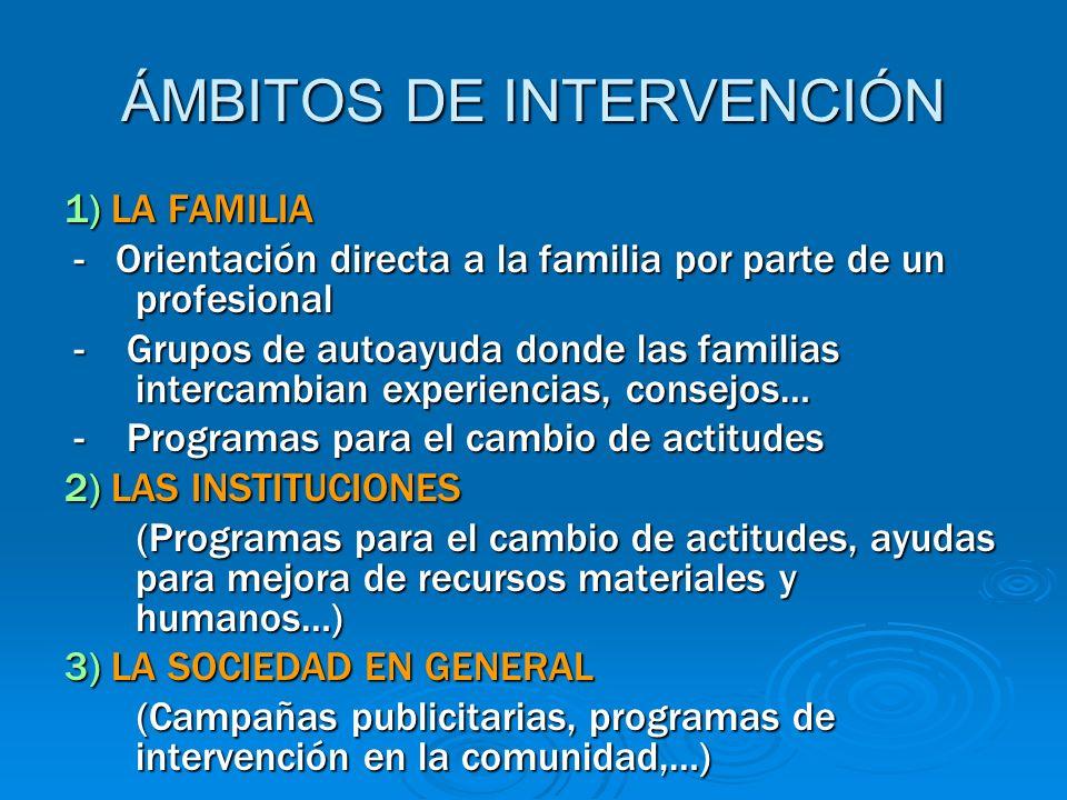 ÁMBITOS DE INTERVENCIÓN 1) LA FAMILIA - Orientación directa a la familia por parte de un profesional - Orientación directa a la familia por parte de u