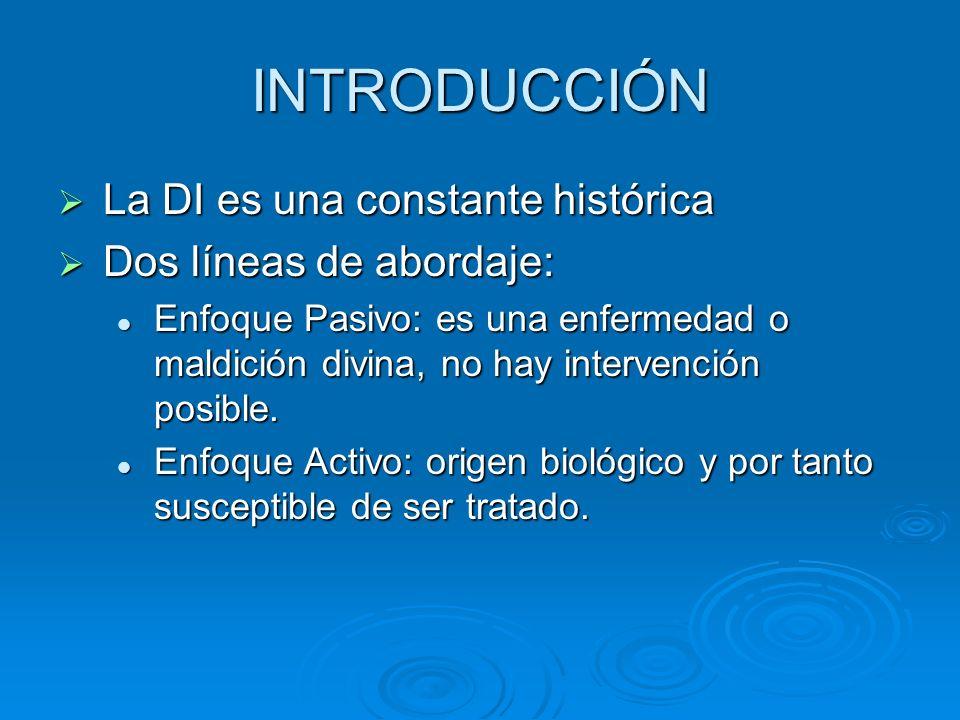 INTRODUCCIÓN La DI es una constante histórica La DI es una constante histórica Dos líneas de abordaje: Dos líneas de abordaje: Enfoque Pasivo: es una