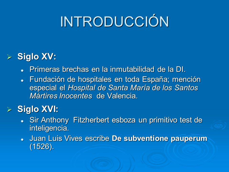 INTRODUCCIÓN Siglo XV: Siglo XV: Primeras brechas en la inmutabilidad de la DI. Primeras brechas en la inmutabilidad de la DI. Fundación de hospitales