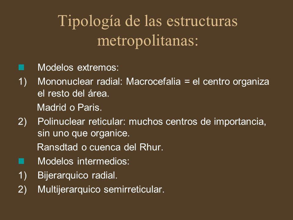 Tipología de las estructuras metropolitanas: Modelos extremos: 1)Mononuclear radial: Macrocefalia = el centro organiza el resto del área. Madrid o Par