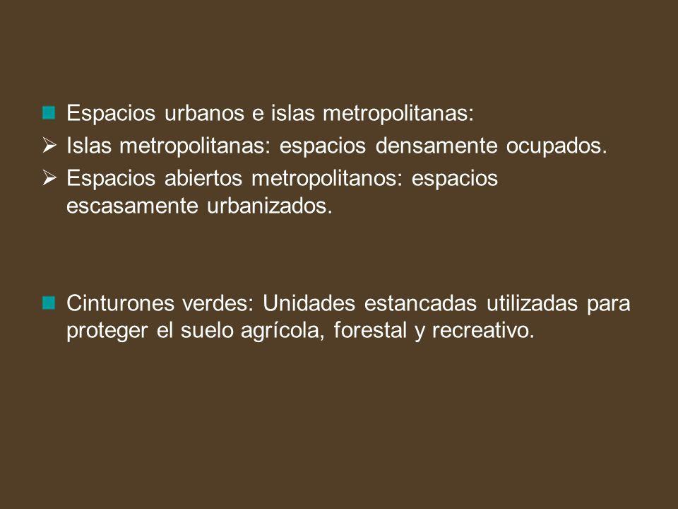 Espacios urbanos e islas metropolitanas: Islas metropolitanas: espacios densamente ocupados. Espacios abiertos metropolitanos: espacios escasamente ur