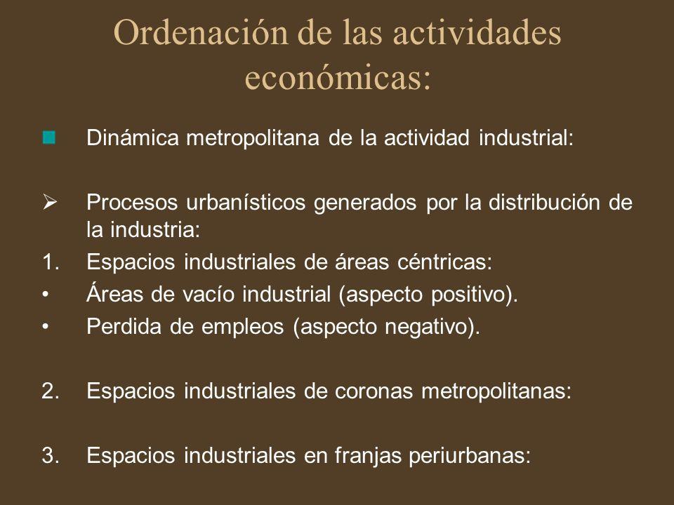 Ordenación de las actividades económicas: Dinámica metropolitana de la actividad industrial: Procesos urbanísticos generados por la distribución de la