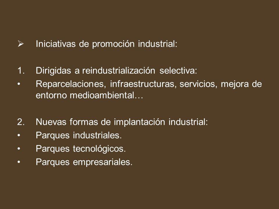 Iniciativas de promoción industrial: 1.Dirigidas a reindustrialización selectiva: Reparcelaciones, infraestructuras, servicios, mejora de entorno medi