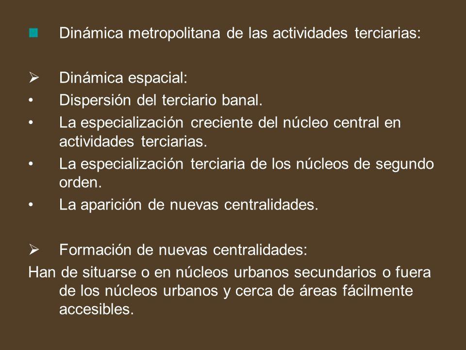 Dinámica metropolitana de las actividades terciarias: Dinámica espacial: Dispersión del terciario banal. La especialización creciente del núcleo centr
