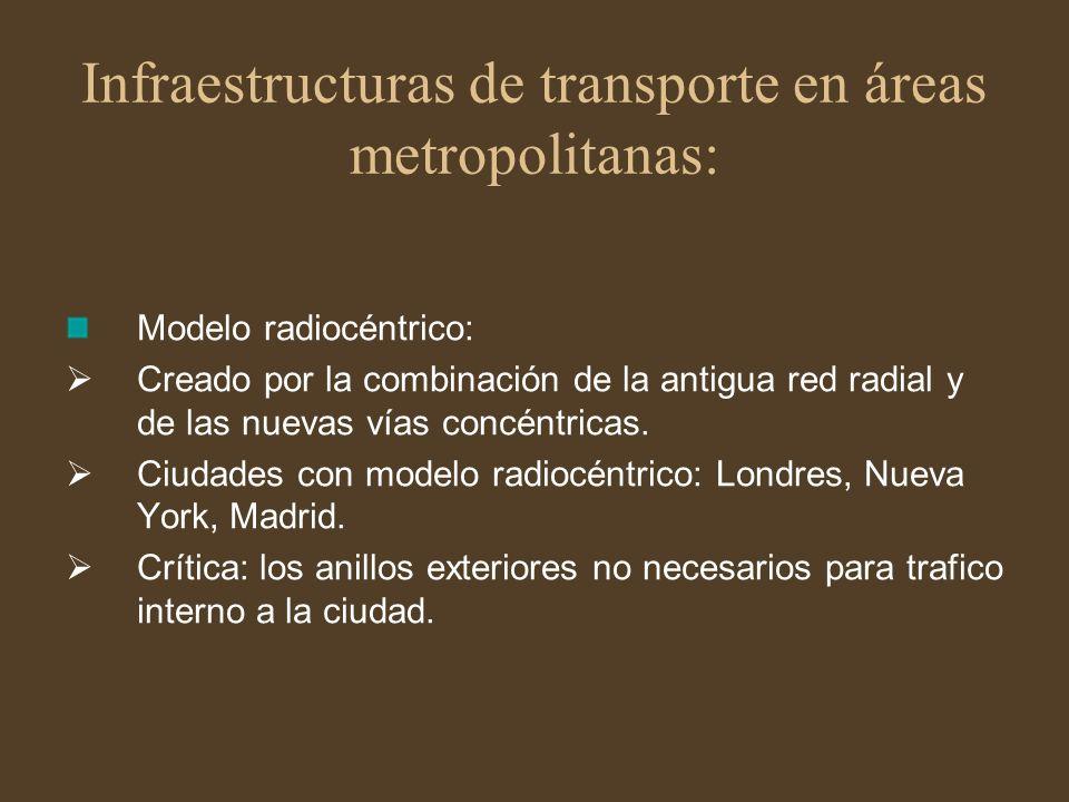 Infraestructuras de transporte en áreas metropolitanas: Modelo radiocéntrico: Creado por la combinación de la antigua red radial y de las nuevas vías