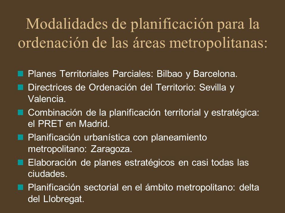 Modalidades de planificación para la ordenación de las áreas metropolitanas: Planes Territoriales Parciales: Bilbao y Barcelona. Directrices de Ordena