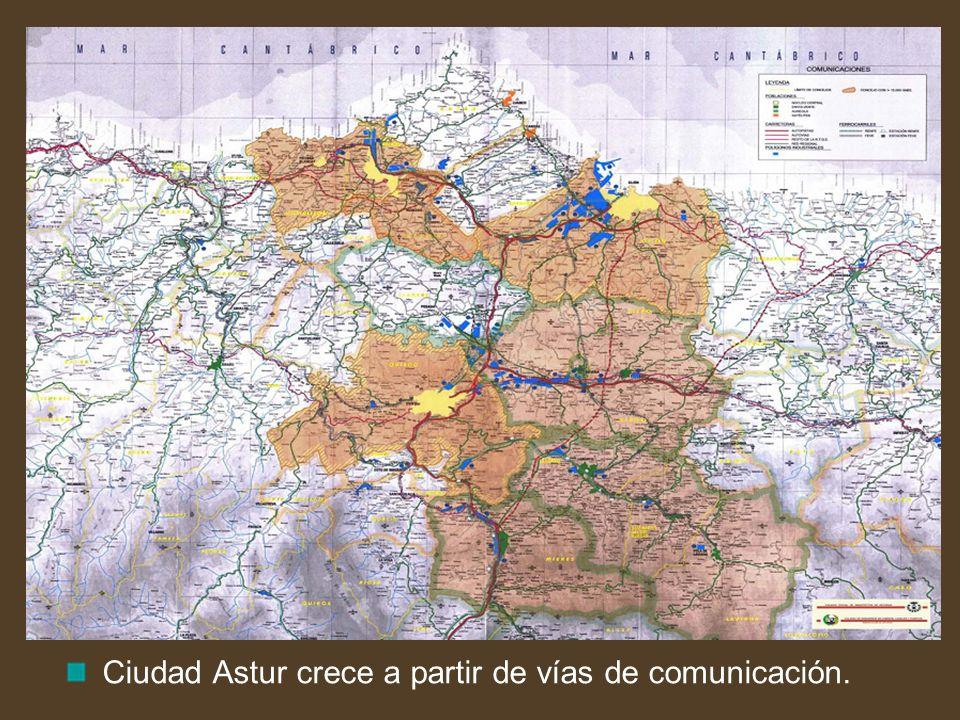Ciudad Astur crece a partir de vías de comunicación.