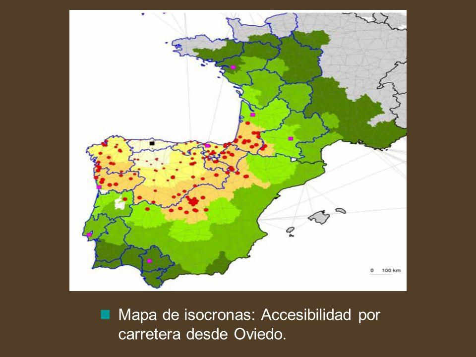 Mapa de isocronas: Accesibilidad por carretera desde Oviedo.