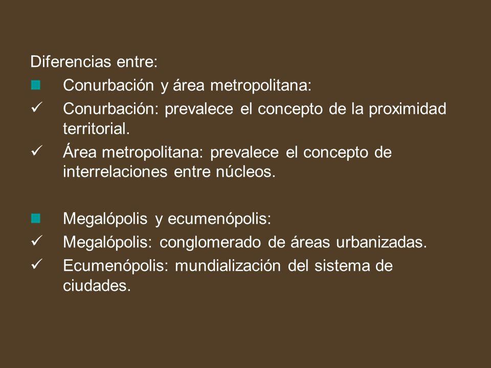 Diferencias entre: Conurbación y área metropolitana: Conurbación: prevalece el concepto de la proximidad territorial. Área metropolitana: prevalece el