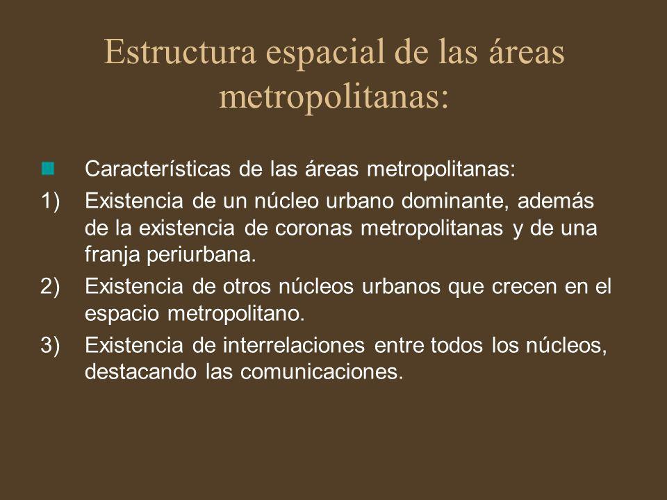 Estructura espacial de las áreas metropolitanas: Características de las áreas metropolitanas: 1)Existencia de un núcleo urbano dominante, además de la
