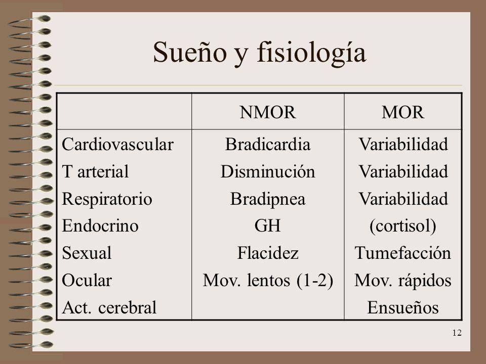 12 Sueño y fisiología NMORMOR Cardiovascular T arterial Respiratorio Endocrino Sexual Ocular Act. cerebral Bradicardia Disminución Bradipnea GH Flacid