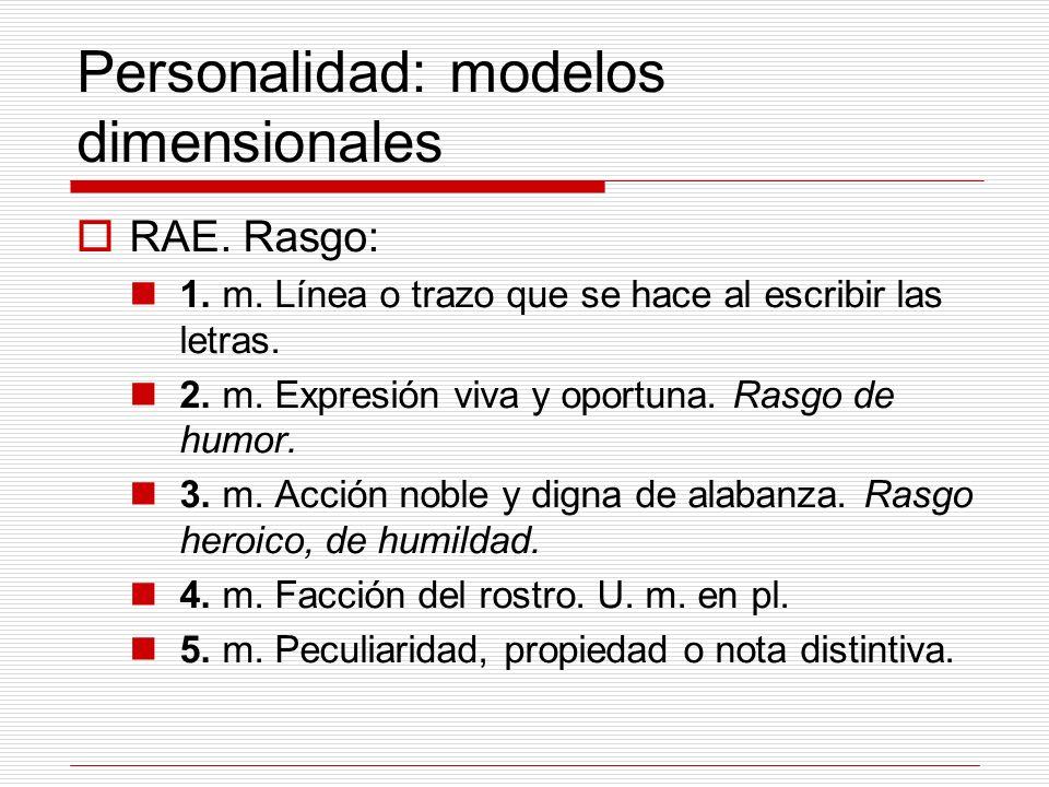 Personalidad: modelos dimensionales RAE. Rasgo: 1. m. Línea o trazo que se hace al escribir las letras. 2. m. Expresión viva y oportuna. Rasgo de humo