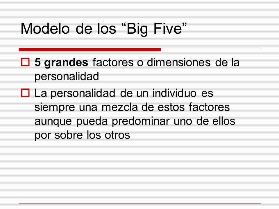 Modelo de los Big Five 5 grandes factores o dimensiones de la personalidad La personalidad de un individuo es siempre una mezcla de estos factores aun