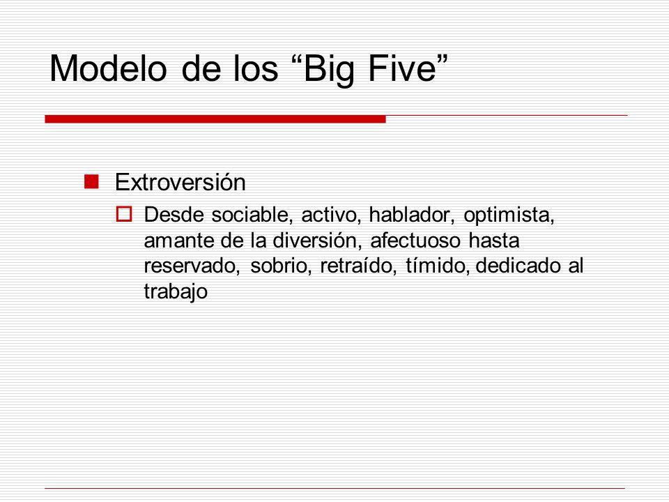 Modelo de los Big Five Extroversión Desde sociable, activo, hablador, optimista, amante de la diversión, afectuoso hasta reservado, sobrio, retraído,