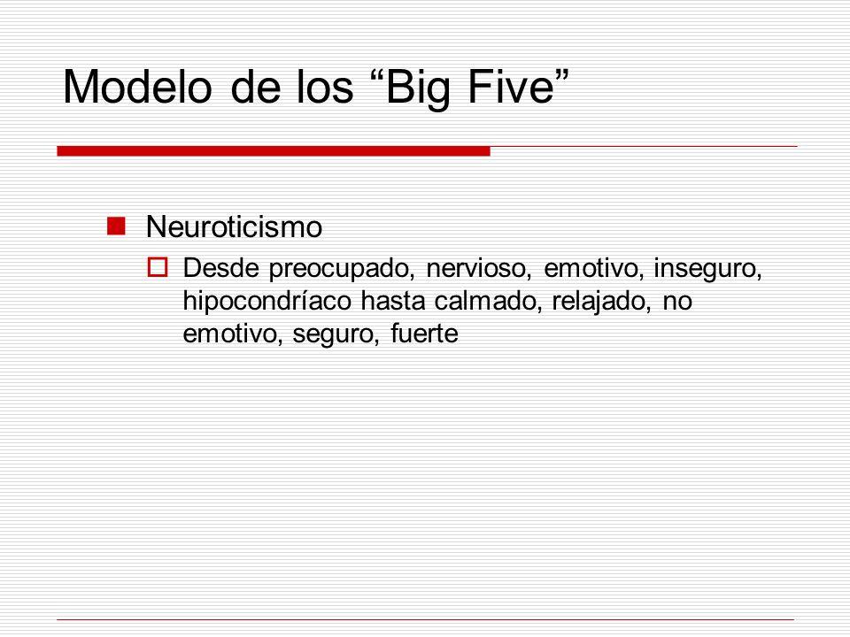 Modelo de los Big Five Neuroticismo Desde preocupado, nervioso, emotivo, inseguro, hipocondríaco hasta calmado, relajado, no emotivo, seguro, fuerte