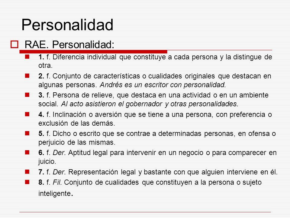 Personalidad RAE. Personalidad: 1. f. Diferencia individual que constituye a cada persona y la distingue de otra. 2. f. Conjunto de características o