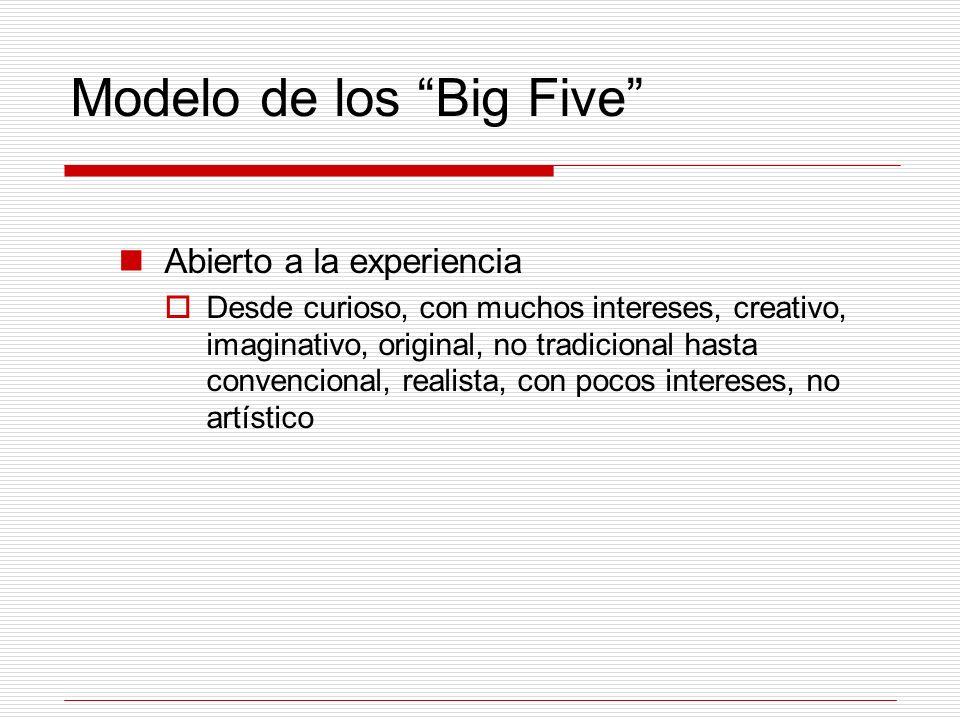 Modelo de los Big Five Abierto a la experiencia Desde curioso, con muchos intereses, creativo, imaginativo, original, no tradicional hasta convenciona