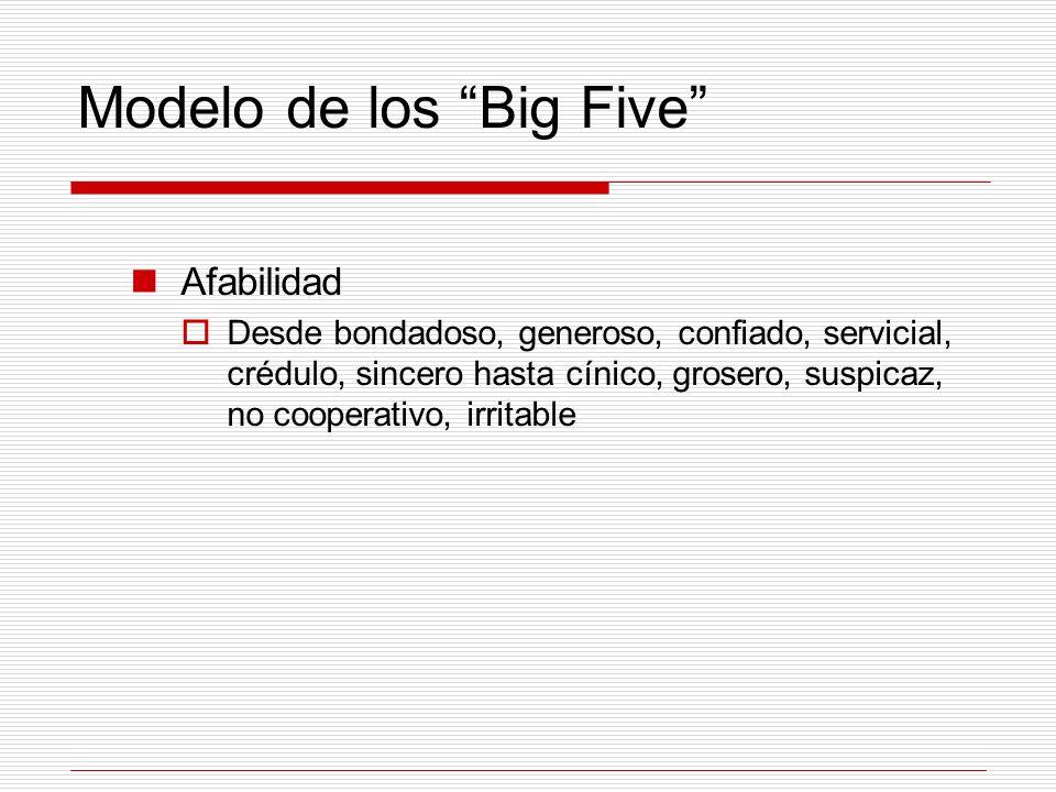 Modelo de los Big Five Afabilidad Desde bondadoso, generoso, confiado, servicial, crédulo, sincero hasta cínico, grosero, suspicaz, no cooperativo, ir