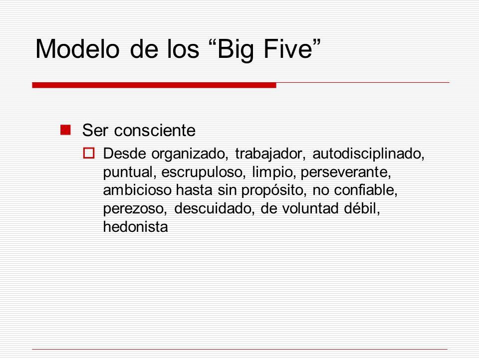 Modelo de los Big Five Ser consciente Desde organizado, trabajador, autodisciplinado, puntual, escrupuloso, limpio, perseverante, ambicioso hasta sin