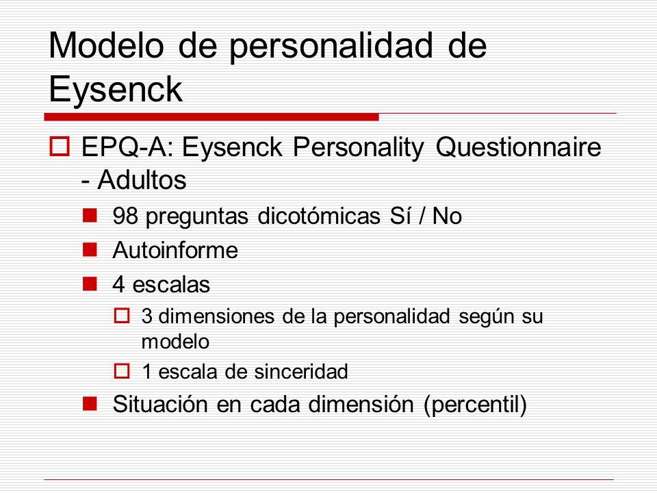Modelo de personalidad de Eysenck EPQ-A: Eysenck Personality Questionnaire - Adultos 98 preguntas dicotómicas Sí / No Autoinforme 4 escalas 3 dimensio