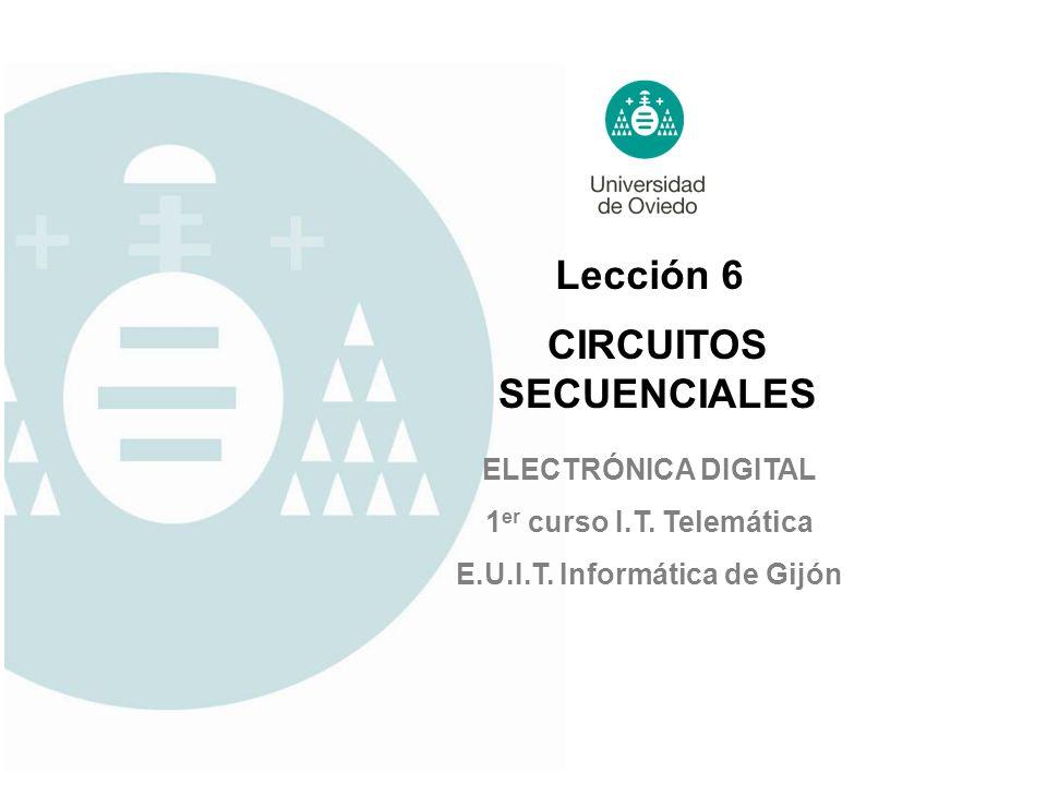 Lección 6 ELECTRÓNICA DIGITAL 1 er curso I.T. Telemática E.U.I.T. Informática de Gijón CIRCUITOS SECUENCIALES