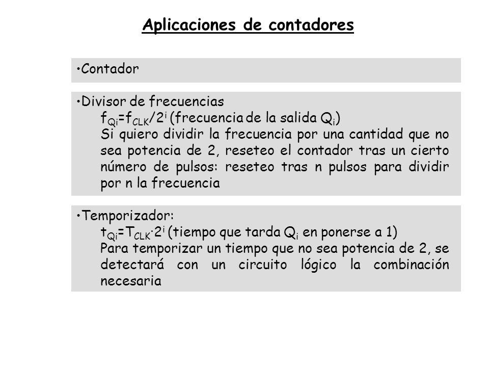 Aplicaciones de contadores Contador Divisor de frecuencias f Qi =f CLK /2 i (frecuencia de la salida Q i ) Si quiero dividir la frecuencia por una can